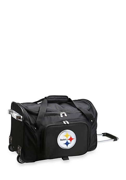 NFL Pittsburgh Steelers 22-in. Wheeled Duffel Nylon Bag in Black