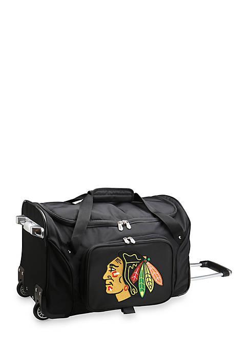 Denco NHL Chicago Blackhawks Wheeled Duffel Nylon Bag