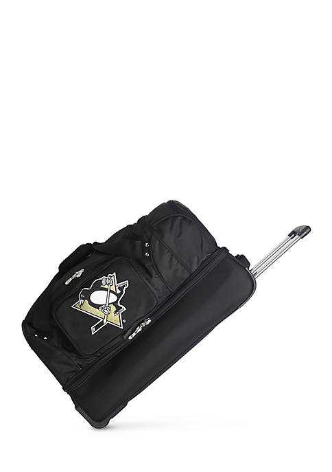 NHL Pittsburgh Penguins Wheeled Duffel Nylon Bag in Black