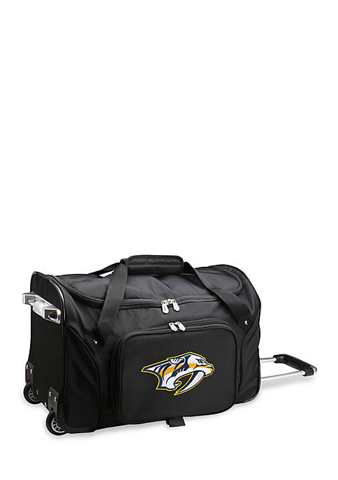 NHL Nashville Predators  22-in. Wheeled Duffel Nylon Bag in Black