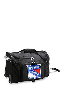 NHL New York Rangers Wheeled Duffel Nylon Bag in Black
