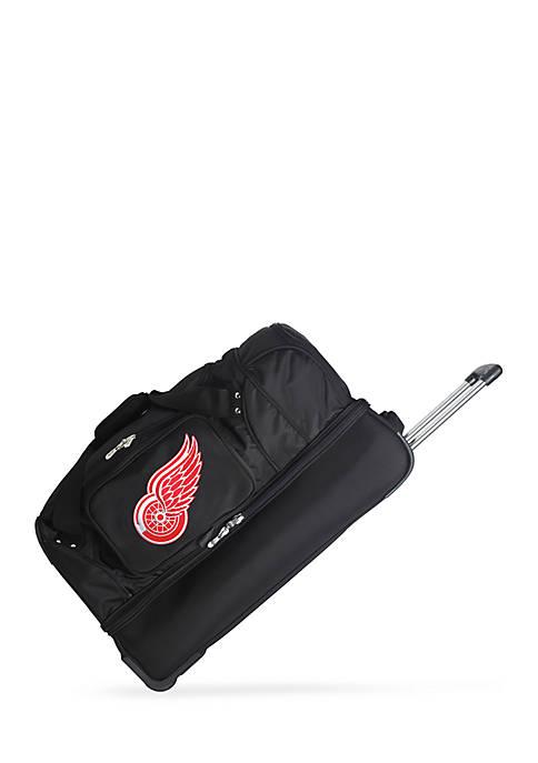NHL Detroit Red Wings Wheeled Duffel Nylon Bag in Black