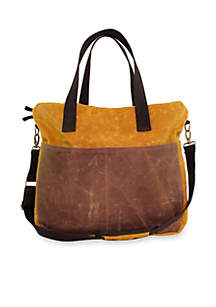 CB STATION Waxed Canvas Multi-Pocket Travel Tote