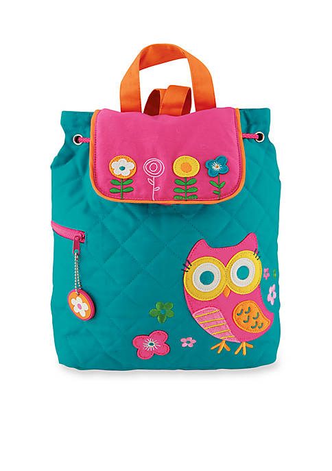 Stephen Joseph Quilted Backpack, Owl Teal