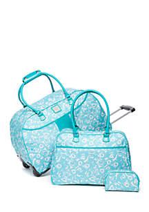 3-Piece Rose Print Luggage Set