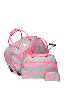 3-Piece Medallion Print Luggage Set