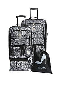 Scrolls Damask 5-Piece Luggage Set