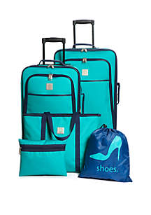 Turquoise and Navy 5-Piece Luggage Set