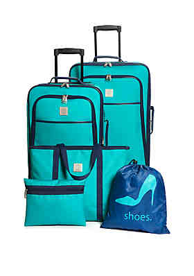 c280e9fa8f Modern. Southern. Home.™ Turquoise and Navy 5-Piece Luggage Set ...