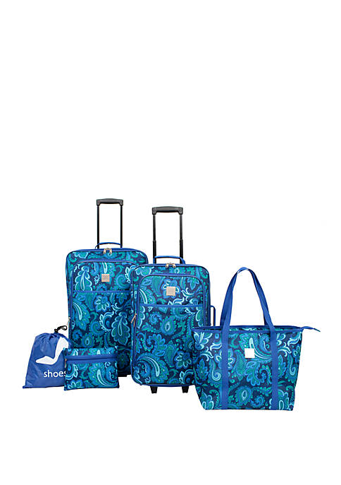 Modern. Southern. Home. Blue Paisley 5 Piece Luggage Set