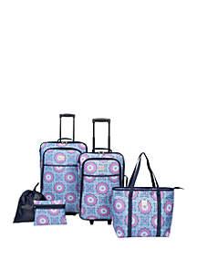 Modern. Southern. Home.™ Delta Blue Medallion Luggage 5 Piece Set