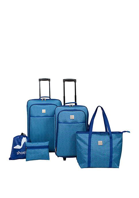 Blue Geo Luggage 5 Piece Set