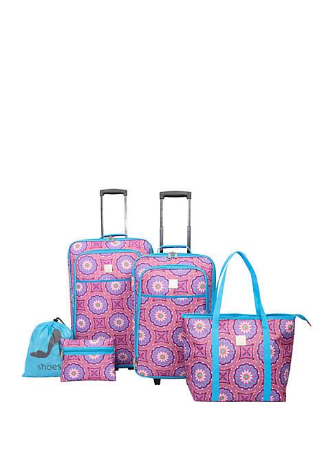 Modern. Southern. Home.™ Medallion Print 5 Piece Luggage