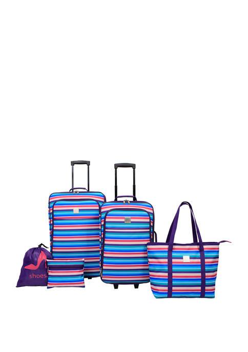 5 Piece Multi Rowing Stripe Luggage Set
