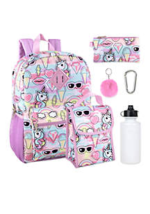 Ice Cream and Unicorns 6-in-1 Backpack Set