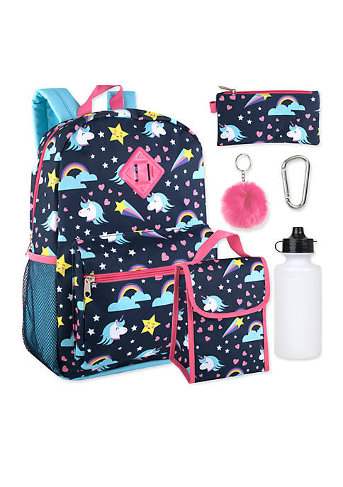 Lightning Bug Fun Unicorns 6-in-1 Backpack Set