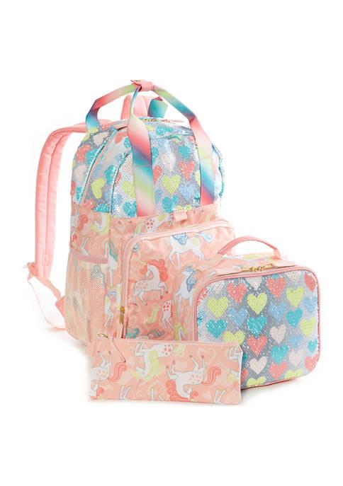 Lightning Bug Kids 3-in-1 Unicorn Hearts Backpack