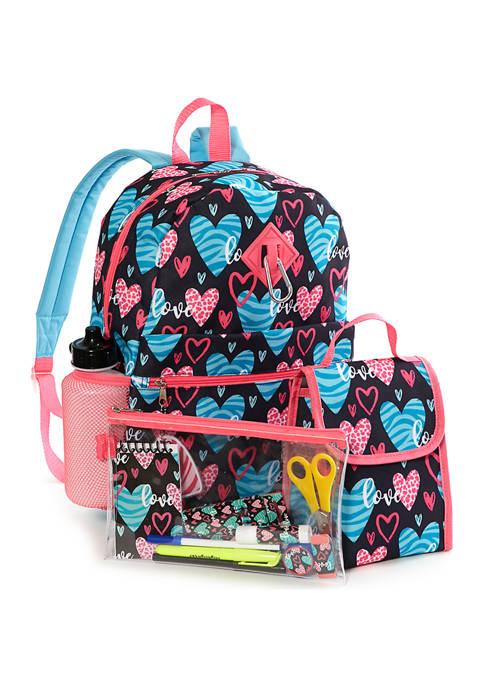Lightning Bug Kids 20-in-1 Hearts Backpack