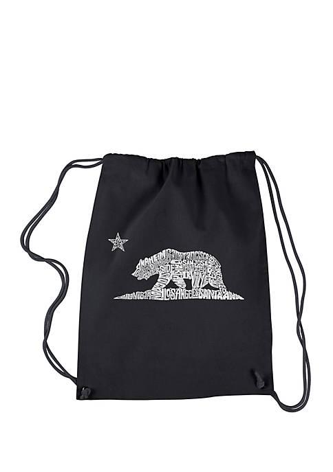 LA Pop Art Drawstring Backpack California Bear