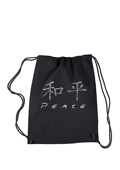 LA Pop Art Drawstring Backpack Chinese Peace Symbol