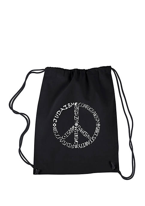 Drawstring Backpack-Different Faiths Peace Sign