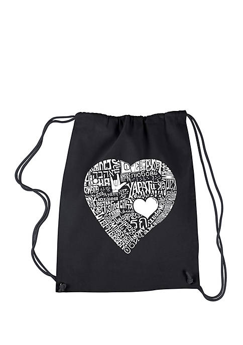 Drawstring Word Art Backpack Love in 44 Different Languages