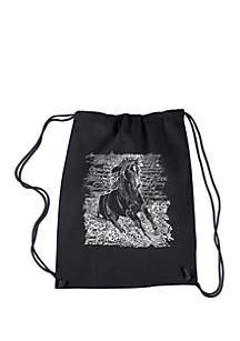 LA Pop Art Drawstring Backpack-Popular Horse Breeds