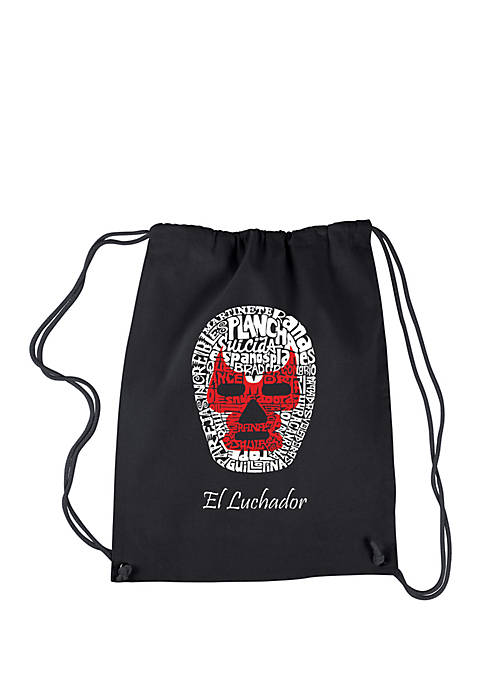 Drawstring Word Art Backpack Mexican Wrestling Mask