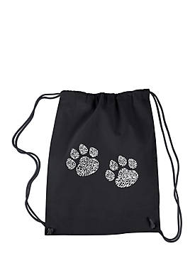 Drawstring Word Art Backpack Meow Cat Prints