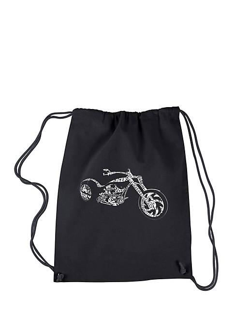 Drawstring Word Art Backpack Motorcycle