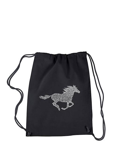 Drawstring Word Art Backpack - Horse Breeds