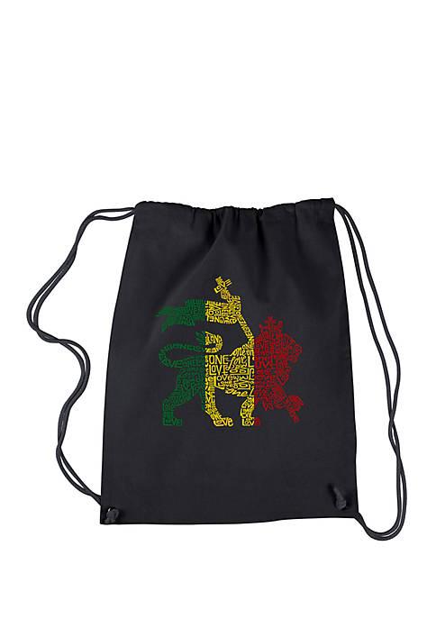 Drawstring Backpack - Rasta Lion - One Love