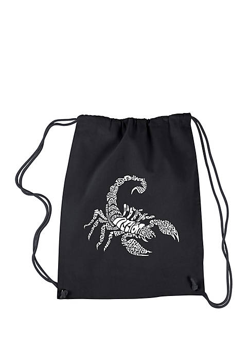 Drawstring Word Art Backpack - Types of Scorpions