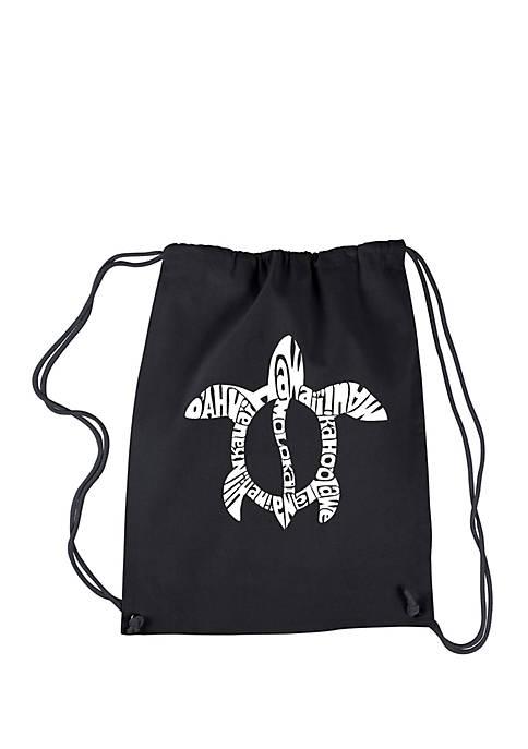 LA Pop Art Drawstring Word Art Backpack-Honu Turtle