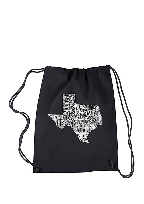 Drawstring Word Art Backpack-The Great State of Texas