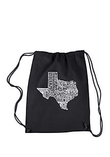 LA Pop Art Drawstring Word Art Backpack-The Great State of Texas