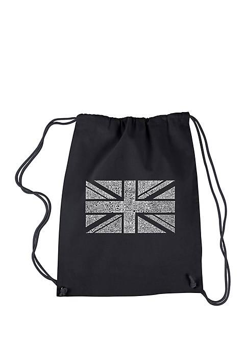 Drawstring Word Art Backpack Union Jack
