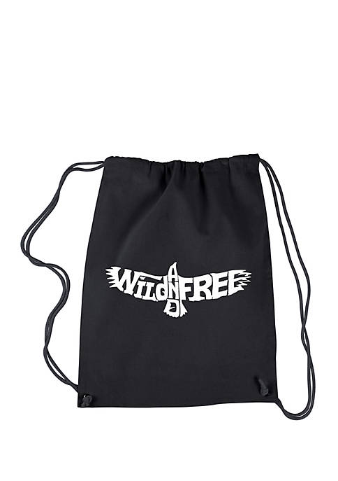 Drawstring Word Art Backpack Wild and Free Eagle