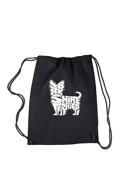 LA Pop Art Drawstring Word Art Backpack Yorkie