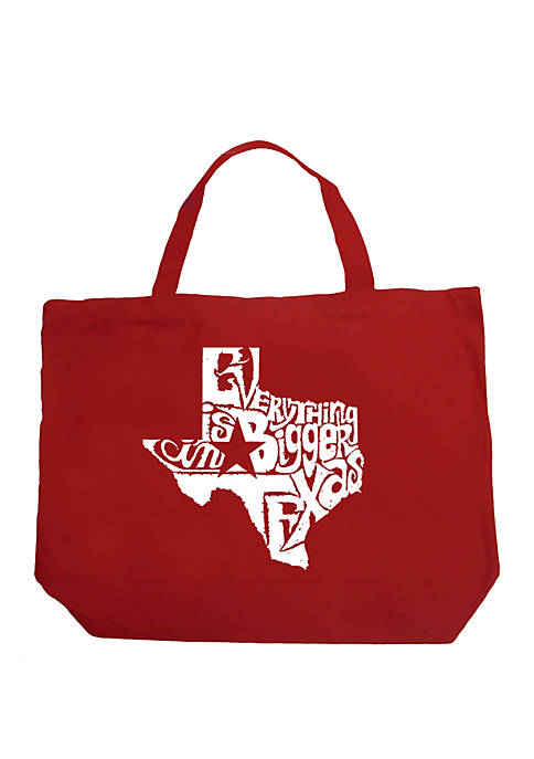Large Word Art Tote Bag - Everything is Bigger in Texas