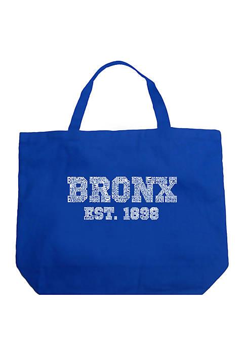 Large Word Art Tote Bag - POPULAR NEIGHBORHOODS IN BRONX, NY