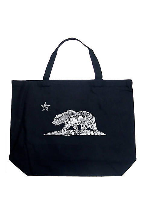 Large Word Art Tote Bag - California Bear