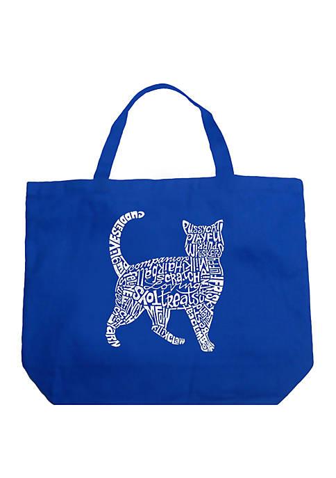 Large Word Art Tote Bag - Cat