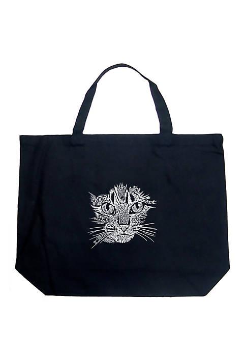 Large Word Art Tote Bag - Cat Face
