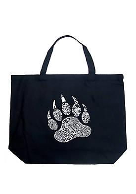 Large Word Art Tote Bag - Types of Bears
