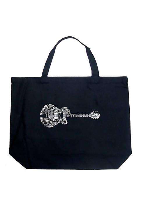 Large Word Art Tote Bag - Country Guitar