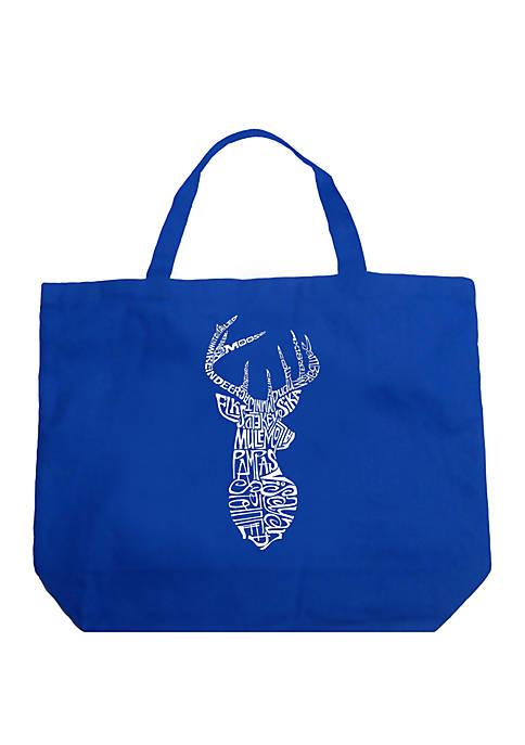 Large Word Art Tote Bag - Types of Deer