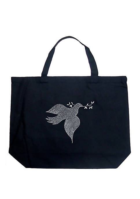 Large Word Art Tote Bag - Dove