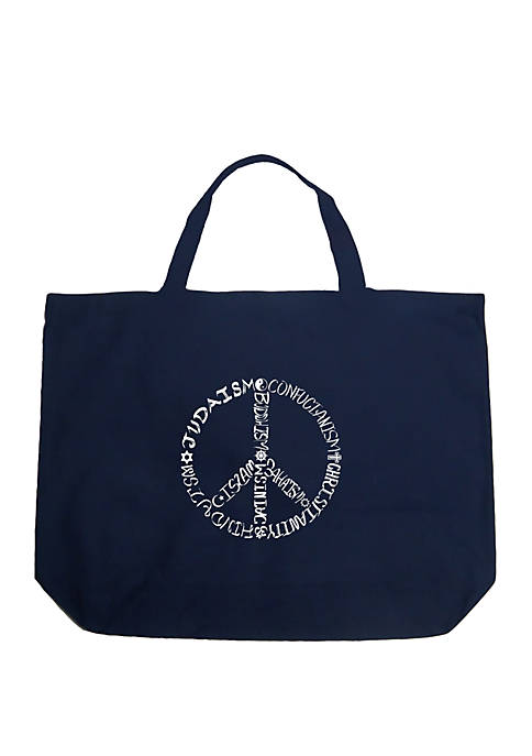 Large Word Art Tote Bag - Different Faiths Peace Sign