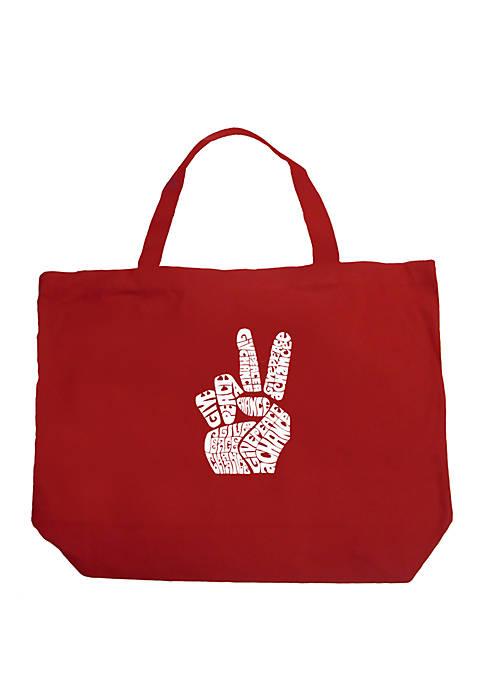 Large Word Art Tote Bag - PEACE FINGERS